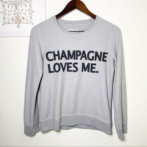 Chaser Champagne Loves Me Pullover Sweater- XS